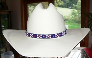 USA-Native American Styled Hand Beaded Hatband on leather. Cowboy/Girl