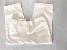 Kate Hill Womens Pants 18W x 25 Wide Capris Plus Size Cropped Cotton White C3