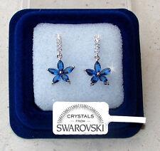 Fiori pendenti Orecchini donna pl. oro bianco 18K cristalli swarovski SW7/3 blu