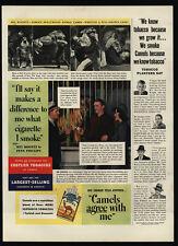 1938 Camel Cigarettes - Lion Tamer Mel Koontz - Tiger - Wrestle - Vintage Ad