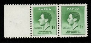 """PAPUA SG154/a 1937 1d CORONATION ONE WITH """"HALO"""" FLAW MTD MINT PAIR"""