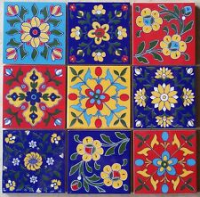18 Multicolor handmade Ceramic pottery Mediterranean Tiles Monaco design 4x4""