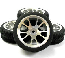 AA1010S 1/10 Scale RC Car On Road Wheel and Tread Tyre Silver Alloy 10 Spoke x4