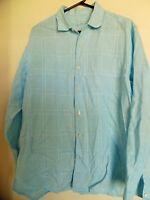 Tommy Bahama Men's Long Sleeve Button Front Blue 100% Linen Shirt sz L Casual