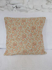 "Pretty Floral Cushion Cover, Shabby Chic, Vintage,""Zinnia"" Duck Egg, Pink, Rust."