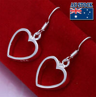 Wholesale 925 Sterling Silver Filled Solid Cute Heart Dangle Earrings