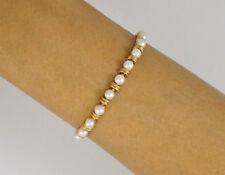 "Estate 14k Yellow Gold 7.25"" Pearl Tennis Bracelet 8.7g"