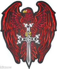 "Eagle Sword Back Patch (Red) 25cm x 30cm (10"" X 12"") Sew on"