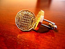 English Brass Threepence Vintage Coin Cufflinks