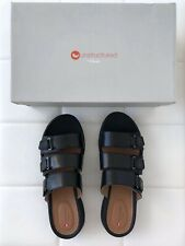 NIB UNSTRUCTURED CLARKS Size 10 7.5 Black Sandals Shoes Flip Flops Flat Women's
