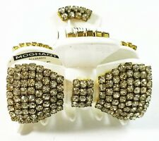 *USA* HAIR CLIP Acrylic Austria Crystal PIN Claw WHITE French Style bow knot NEW