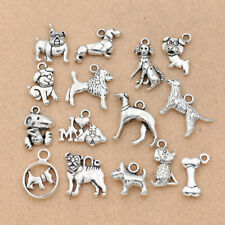 15PCS Mix Antique Silver Plated Dog Charm pendant for Jewelry Accessories DIY