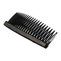 Silver Tone Stripe Rhinestone Plastic Black Hair Comb for Ladies WS