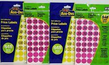 Lot of 4 New Packs Garage Yard Sale Rummage Sticker Price Sell 2592 Labels Hy-Ko