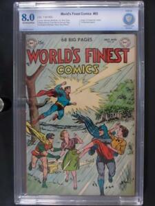 World's Finest Comics #65 - CBCS 8.0 VF - DC 1953 - ORIGIN Superman 2nd HIGHEST