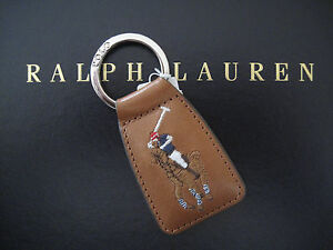 Polo RALPH LAUREN Large Big Polo Pony Icon Brown Leather Keychain Key Chain