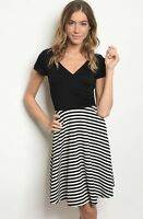 NWT Women's Large Black And White Stripe Midi Dress Spring Summer BOUTIQUE