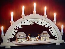 Arc à lumière à bougies 3D Bergmann ville 2 Figuren 57x38 cm 7 lumières 10271