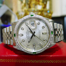 Mens ROLEX Oyster Perpetual Datejust Diamond Steel & Gold Mother-of-Pearl Watch