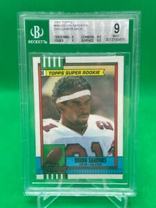 1990 Topps DEION SANDERS rookie card RC BGS 9 MINT Rare w/ disclaimer back