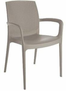 iGap Boheme Stackable Indoor Outdoor Patio Rattan Back Dining Chair with Arms