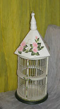"""White Hand Painted Flowers Wood Decorative Bird Cage House 21""""X 8"""" #MS08"""