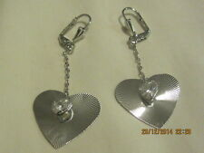 Earrings - White Gold Filled Heart and Crystal, dangling