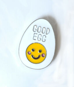 Good Egg face funny enamel pin badge 25mm tall