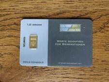 Goldbarren 1 Gramm 999,9 Feingold mit Zertifikat Nadir Blister eingeschweißt