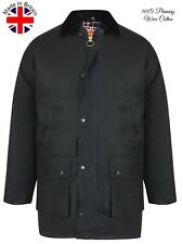 Men Wax Jacket Coat Riding Hunting Fishing Zip Padded Hooded Button Winter Black