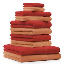"""10-Pcs. Juego toallas """"Premium"""", de color rojo y melocoton( peach) ,2 toallas de"""