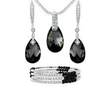 14k Tono Argento Nero Cristallo Goccia Cristallo Swarovski Element Gioielli Regalo UK