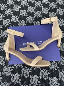 Stuart Weitzman 45 square nudist Wheat Luxe Suede Sandal Heels size 8.5 M