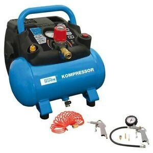 Güde Kompressor 6l 8 bar Airpower Druckluftkompressor tragbar Ölfrei Zubehör Set