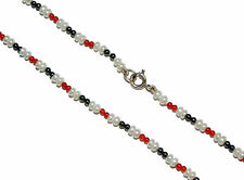 Agate, Hematite & Freshwater Pearl Necklet With Stamped 925 Silver Clasp