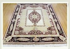 Rug Elegant Carpet 8' X 10' Silk Beige Aubusson French
