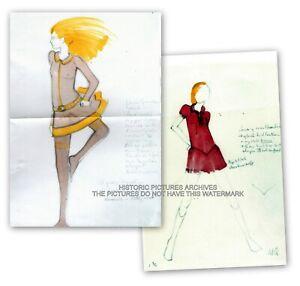 MARY QUANT MINI DRESS DESIGN DRAWINGS 1965 TWO NOSTALGIC IMAGES FASHION HISTORY
