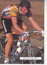 CYCLISME carte cycliste LOUIS DE KONING équipe PANASONIC ISOSTAR 1989