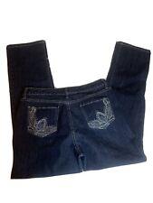 NINE WEST JEANS Size 12/32 Straight Women's bling Pockets Embellished Dark Wash