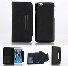 New Detachable Black Wallet PU Leather Case Cover For Apple iPhone 6 Plus