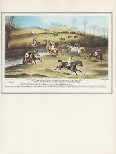 """1974 Vintage HORSE RACE """"VALE OF AYLESBURY STEEPLE CHASE"""" COLOR Art Lithograph"""