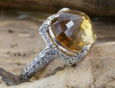 18K White Gold Beautiful CZ & 13x19mm Oval Citrine Ring Size 6