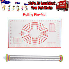 Rolling Pin Adjustable Roller Pin With Silicone Baking Mat 4 Removable Ring