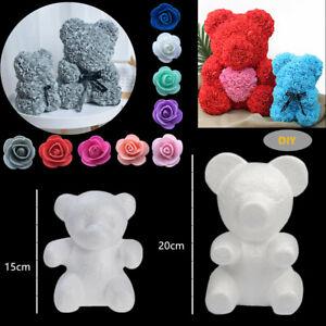DIY Styrofoam White Foam Bear Mold Flower Head Rose Bear Valentine's Day Gifts