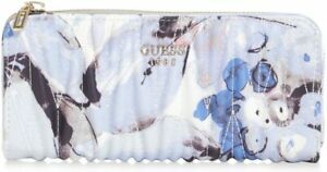 NEW GUESS Women's Keegan Blue Floral Print Ruched Quilted Detail Zip Wallet