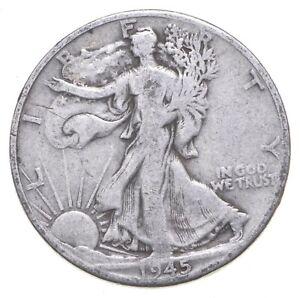 XF+ 1945-D Walking Liberty 90% Silver US Half Dollar - NICE COIN *335