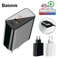 Baseus Smart Digital Diplay Quick Charging 4.0 USB 3.0 + Type-C Fast Charger 45W