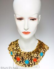 Egyptian Collar Gold Stretch Sequin Decorative Collar With Plastic Jewels