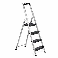 4 Step Stool Aluminum Ladder Anti-Slip Widen Pedals Multi-Use Home Office