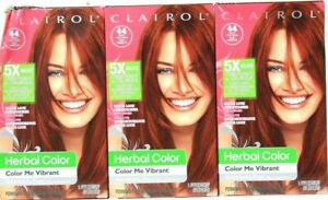 (3) Clairol Herbal Color Me Vibrant 44 Paint The Town Deep Red Permanent Dye